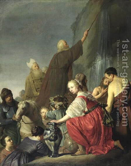 Moses Striking Water from the Rock by (attr. to) Coninch, Salomon de - Reproduction Oil Painting