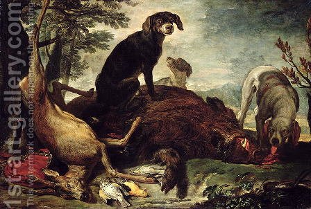 Dogs with Slain Wild Boar and Deer by David de Coninck - Reproduction Oil Painting