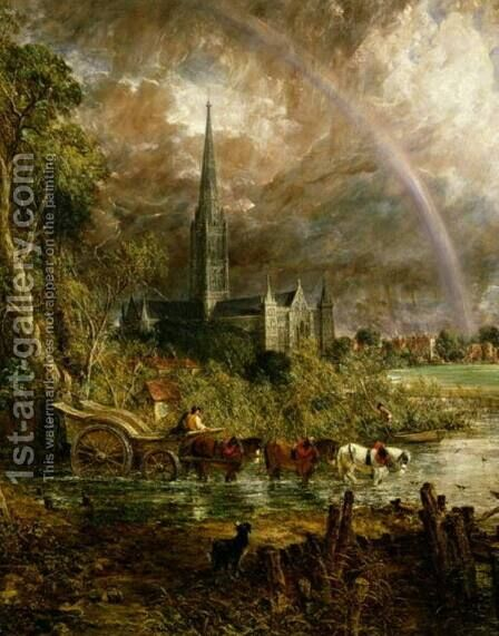 Salisbury Cathedral From the Meadows, 1831 (detail) by John Constable - Reproduction Oil Painting