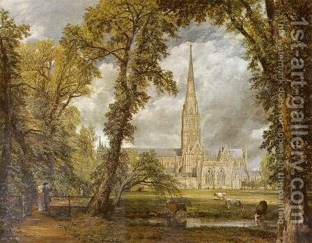 View of Salisbury Cathedral from the Bishop's Grounds  c.1822 by John Constable - Reproduction Oil Painting