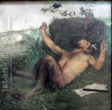 Faun Whistling to a Blackbird  1875 by Arnold Böcklin - Reproduction Oil Painting