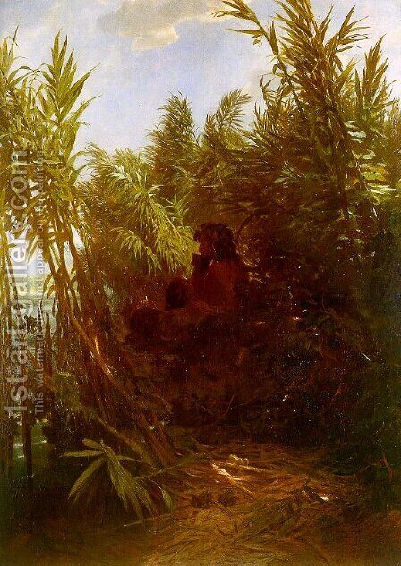 Pan Amongst the Reeds, 1856-57 (2) by Arnold Böcklin - Reproduction Oil Painting