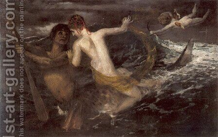 Triton and Nereid, 1875 by Arnold Böcklin - Reproduction Oil Painting