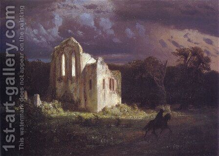 Ruins in a Moonlit Landscape by Arnold Böcklin - Reproduction Oil Painting