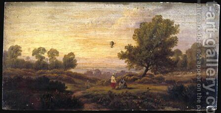 Balloon Over Woodland c.1840 by B. Cook - Reproduction Oil Painting