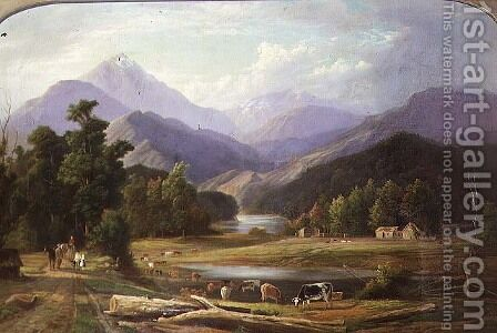 New Zealand Landscape  1872 by Ebenezer Wake Cook - Reproduction Oil Painting