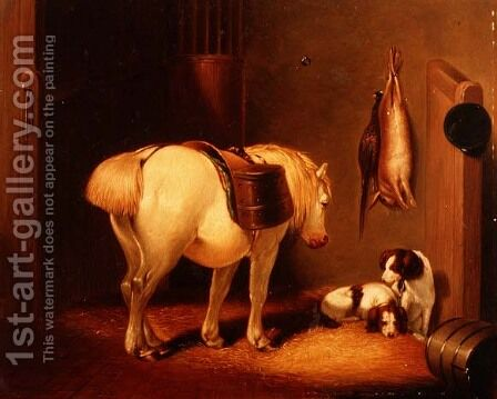 The Gamekeeper's Stable by Abraham Cooper - Reproduction Oil Painting