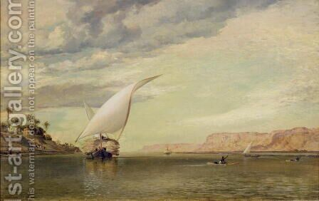 On the Nile by Edward William Cooke - Reproduction Oil Painting