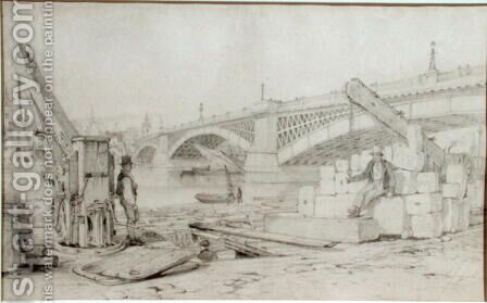 View of Southwark Bridge and the River Thames from Bankside, with two derricks in the foreground, 1827 by Edward William Cooke - Reproduction Oil Painting
