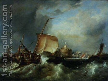 French Herring Boat Running into the Port off Havre de Grace by Edward William Cooke - Reproduction Oil Painting