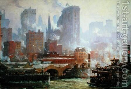 Wall Street Ferry Ship by Colin Campbell Cooper - Reproduction Oil Painting