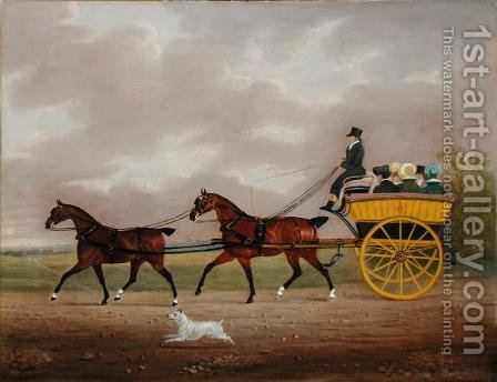 A Gentleman driving Tandem to a Jaunting Car by Edwin Cooper - Reproduction Oil Painting