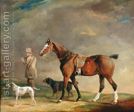 A Sportsman with Shooting Pony and Gun Dogs by Edwin Cooper - Reproduction Oil Painting