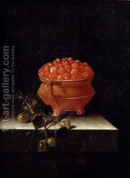 Strawberries and Gooseberries on a stone ledge by Adriaen Coorte - Reproduction Oil Painting