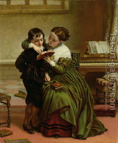 George Herbert and His Mother by Charles West Cope - Reproduction Oil Painting