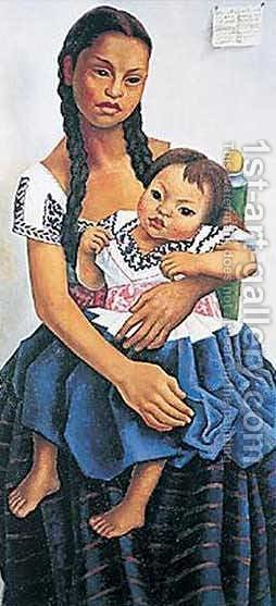 Delfina Flores Y Su Sobrina Modesta by Diego Rivera - Reproduction Oil Painting