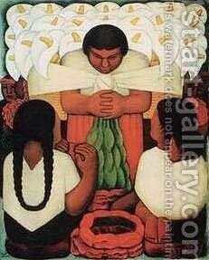 Flower Day by Diego Rivera - Reproduction Oil Painting