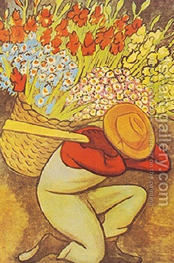 El Vendedor De Flores by Diego Rivera - Reproduction Oil Painting