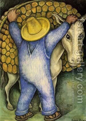 Man Loading Donkey with Firewood, 1938 by Diego Rivera - Reproduction Oil Painting