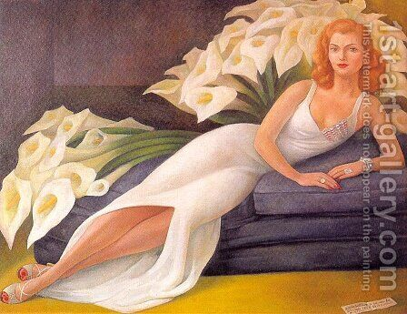 Portrait Of Natasha Gellman 1943 by Diego Rivera - Reproduction Oil Painting