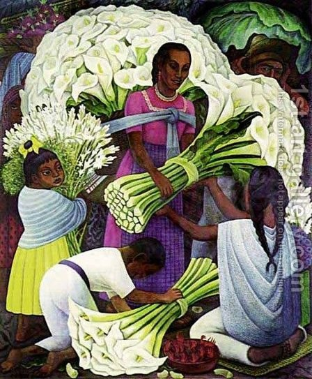 The Flower Vendor by Diego Rivera - Reproduction Oil Painting