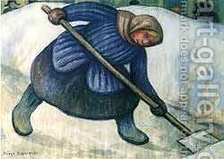 Woman Picking Snow 1955 by Diego Rivera - Reproduction Oil Painting