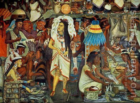 The Market of Tlatelolco  (detail) by Diego Rivera - Reproduction Oil Painting