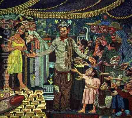 History of the Theatre in Mexico (detail of a comedian) 1953 by Diego Rivera - Reproduction Oil Painting