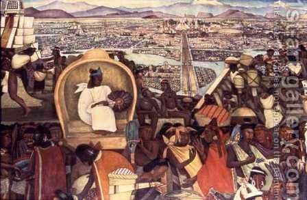 Detail from The Great City of Tenochtitlan 1945-52 by Diego Rivera - Reproduction Oil Painting