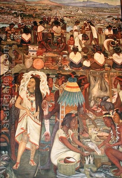 The Market of Tlatelolco (detail from the series Epic of the Mexican People) 1929-35 ( by Diego Rivera - Reproduction Oil Painting