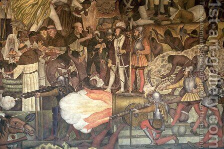 Mural from the series Epic of the Mexican People  1925-35 by Diego Rivera - Reproduction Oil Painting