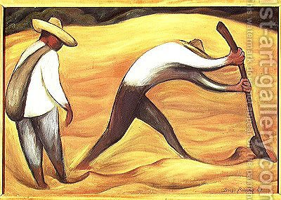 Peasants  1947 by Diego Rivera - Reproduction Oil Painting