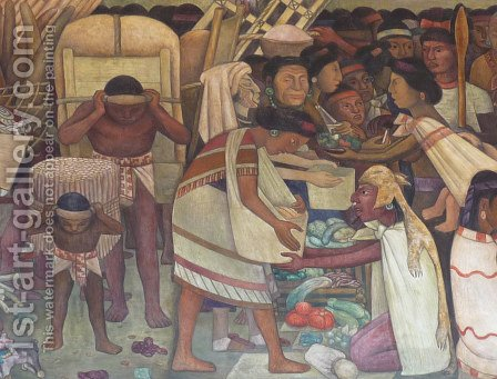 The Great City of Tenochtitlan, detail of a woman selling vegetables, 1945 by Diego Rivera - Reproduction Oil Painting