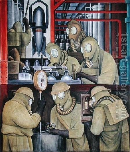 Detroit Industry-3,  1933 by Diego Rivera - Reproduction Oil Painting