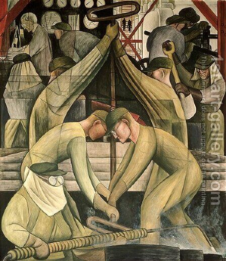 Detroit Industry-11,  1932-33 by Diego Rivera - Reproduction Oil Painting