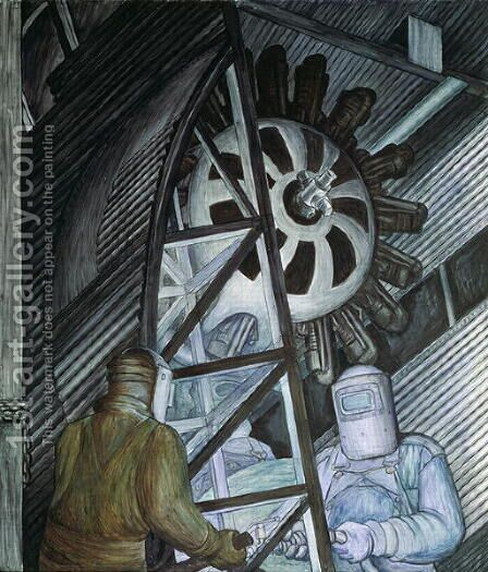 Detroit Industry-17,  1932-33 by Diego Rivera - Reproduction Oil Painting