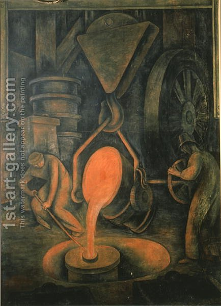 The Foundry,  Pouring the Crucible, from the Court of Labour, 1923 by Diego Rivera - Reproduction Oil Painting