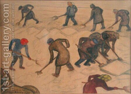 Shovelling Snow 1956 by Diego Rivera - Reproduction Oil Painting