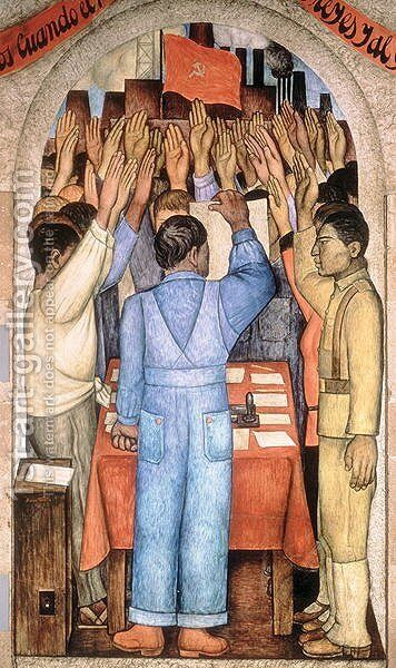 The Protest, from the cycle of the Political Vision of the Mexican People (Court of Fiestas) 1923-24 by Diego Rivera - Reproduction Oil Painting