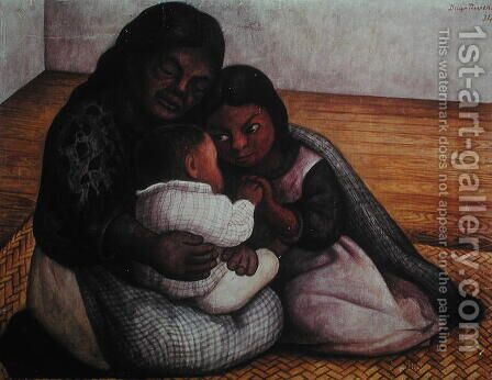 A Poor Family in the Street 1934 by Diego Rivera - Reproduction Oil Painting