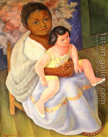 Nina with Doll, 1954 by Diego Rivera - Reproduction Oil Painting