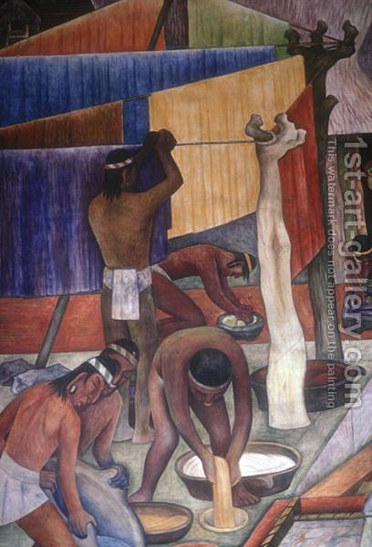 Dyeing Fabrics, detail from  The Tarascan Civilisation, 1942 by Diego Rivera - Reproduction Oil Painting