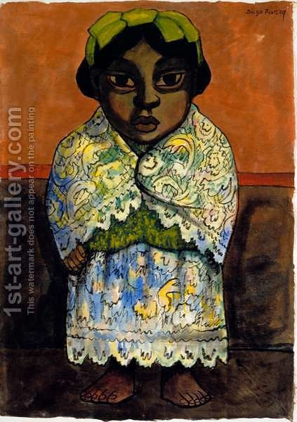 Portrait of a Girl  c.1945 by Diego Rivera - Reproduction Oil Painting