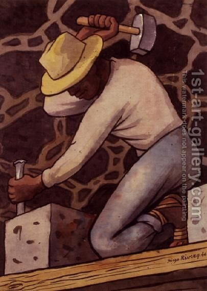 The Stone Cutter by Diego Rivera - Reproduction Oil Painting