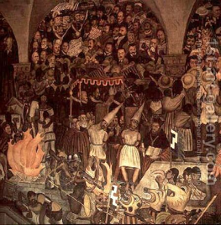 The Court of the Inquisition, Mural by Diego Rivera - Reproduction Oil Painting