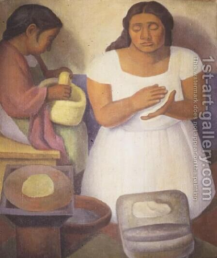Making Tortillas  1926 by Diego Rivera - Reproduction Oil Painting