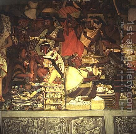 The Market Place by Diego Rivera - Reproduction Oil Painting