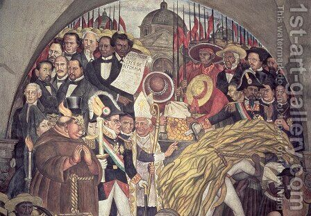 History of Mexico from the Conquest to 1930, detail from a mural in the cycle Epic of the Mexican People, 1929-31 by Diego Rivera - Reproduction Oil Painting