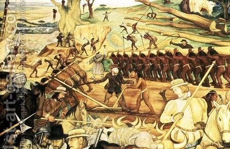 The Colonisation, detail from the series Epic of the Mexican People, 1945-52 by Diego Rivera - Reproduction Oil Painting