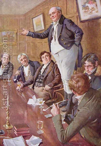 Mr Pickwick Adresses the Club, 1924 by Harold Copping - Reproduction Oil Painting